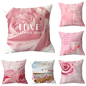 cheap Pillow Covers-6 pcs Polyester Pillow Cover, Floral Print Letter & Number Simple Classic Square Traditional Classic