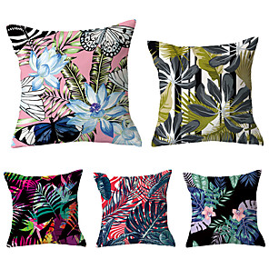 cheap Sale-5 pcs Polyester Pillow Cover, Geometric Flower / Floral Simple Vintage Square Traditional Classic