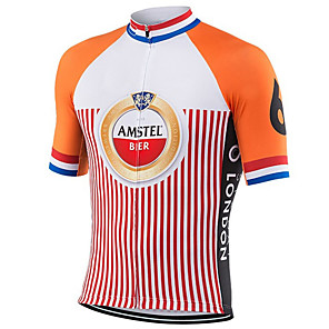 cheap Cycling Jerseys-21Grams Men's Short Sleeve Cycling Jersey Orange Stripes Oktoberfest Beer Netherlands Bike Jersey Top Mountain Bike MTB Road Bike Cycling UV Resistant Breathable Quick Dry Sports Clothing Apparel
