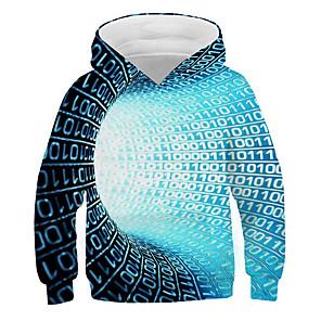 tanie Zestawy ubrań dla dziewczynek-Dzieci Dla chłopców Podstawowy Moda miejska Kolorowy blok 3D Nadruk Długi rękaw Bluzy Niebieski