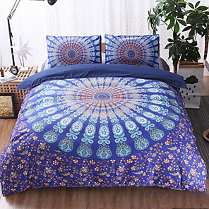 cheap Contemporary Duvet Covers-Duvet Cover Sets 3 Piece Linen / Cotton 3D Purple Printed Luxury