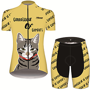 cheap Cycling Jersey & Shorts / Pants Sets-21Grams Women's Short Sleeve Cycling Jersey with Shorts Black / Yellow Cat Animal Bike Clothing Suit Breathable 3D Pad Quick Dry Ultraviolet Resistant Sweat-wicking Sports Cat Mountain Bike MTB Road