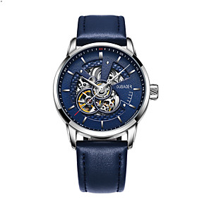 cheap Quartz Watches-Men's Mechanical Watch Automatic self-winding Genuine Leather 30 m Water Resistant / Waterproof Day Date Analog Elegant Fashion - Black / Silver White+Golden Blue One Year Battery Life