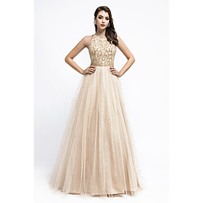 cheap Prom Dresses-A-Line Elegant Sparkle Prom Formal Evening Dress Jewel Neck Sleeveless Floor Length Tulle with Crystals Beading Sequin 2020