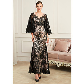 cheap Wedding Wraps-Sheath / Column Sexy Black Party Wear Formal Evening Dress V Neck Half Sleeve Floor Length Lace Tulle with Beading Appliques 2020