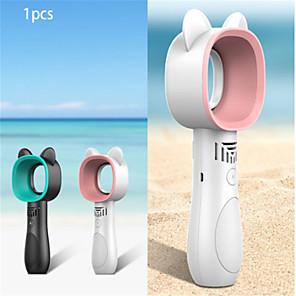cheap Household Appliances-Cute Cat Outdoor USB Rechargeable Fan Portable Bladeless Fan Handheld Mini Cooler No Leaf Handy Cooling Fan