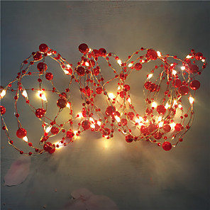 cheap LED String Lights-1PCS 10M 100led Wedding Fairy Lights Retro Red Pearl Decoration Led Garden String Lights For Holiday Christmas Home DIY Lighting AA Battery Power (come without battery)