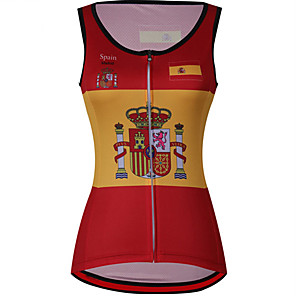 cheap Cycling Jerseys-21Grams Women's Sleeveless Cycling Jersey Cycling Vest Red / Yellow Spain National Flag Bike Jersey Top Mountain Bike MTB Road Bike Cycling UV Resistant Breathable Quick Dry Sports Clothing Apparel