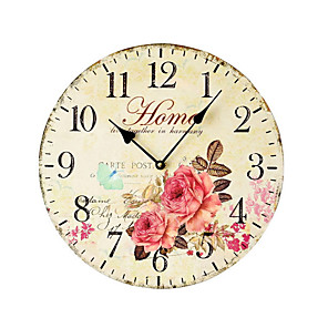 cheap Curtains Drapes-1pcs Pastoral Color Printing Art Wall Clock Frameless Decorative Wall Pendant