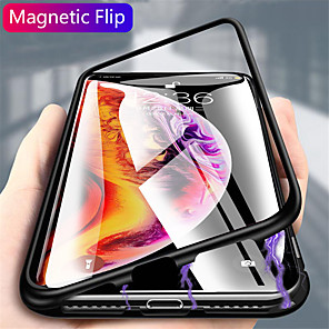 cheap iPhone Cases-Case For Samsung Galaxy S20 Plus / S20 Ultra / S20 Magnetic Back Cover Solid Colored Tempered Glass / Metal
