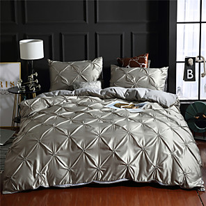 cheap Solid Duvet Covers-Duvet Cover Sets 1 Piece Rayon / Polyester Solid Colored Dark Brown Pleated Simple / >800 / 3pcs (1 Duvet Cover, 2 Shams)
