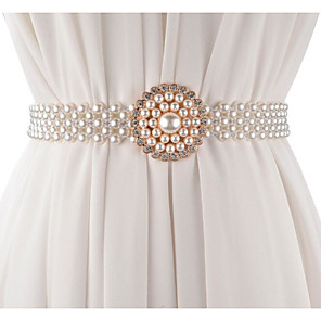 cheap Party Sashes-Metalic Wedding / Party / Evening Sash With Imitation Pearl / Belt Women's Sashes