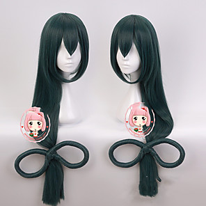 cheap Costume Wigs-Synthetic Wig Asuna Yuuki Cosplay My Hero Academy Battle For All / Boku no Hero Academia Straight Halloween With Ponytail Wig Long Natural Black Synthetic Hair 39 inch Women's Best Quality Black