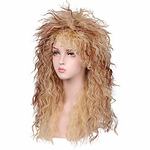 cheap Synthetic Lace Wigs-Synthetic Wig Curly Loose Curl Halloween Asymmetrical Wig Blonde Long Blonde Synthetic Hair 24 inch Women's Best Quality Blonde