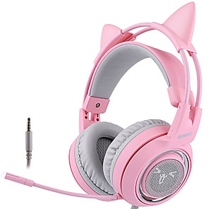 cheap Gaming Headsets-SOMIC G951S Pink Cat Headphones Wired Gaming Headset 3.5mm Headset with Mic for PC