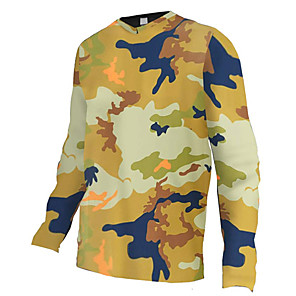 cheap Cycling Jerseys-21Grams Men's Long Sleeve Cycling Jersey Downhill Jersey Dirt Bike Jersey Spandex Polyester Camouflage Camo / Camouflage Bike Jersey Top Mountain Bike MTB Road Bike Cycling UV Resistant Breathable