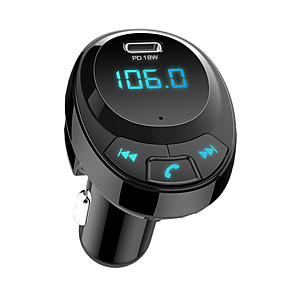 cheap Car FM Transmitter/MP3 Players-BT09 Car FM Transmitter Bluetooth 5.0 Car Mp3 Player Wireless Audio Adapter Car Charger with USB-C PD18W 3.1A Battery Voltage Adapter Car Wireless Bluetooth Kit
