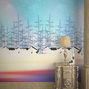 cheap Wallpaper-Customized Self-adhesive Mural Wallpaper Blue Sky Fir Trees Beautiful Picture Suitable For Bedroom Living Room Coffee Shop Restaurant Hotel Wall Decoration Art
