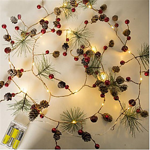 cheap LED String Lights-2M 20 LED Fairy Retro Led String Lights Pine Cone Bell Cedar Star Garland String Light AA Battery Powered Garden Tree Decor Lamp For Wedding / Party / Xmas Lighting (come without battery)