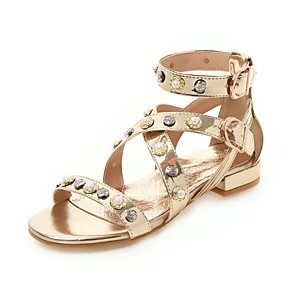cheap Women's Sandals-Women's Sandals Spring & Summer Block Heel Open Toe Casual Preppy Daily Pearl Solid Colored PU Gold / Silver