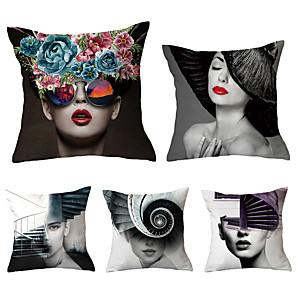 cheap Sale-5 pcs Throw Pillow Simple Classic 45*45 cm Cushion Vintage Circle Cover Sofa Home Decor Throw Pillow Case
