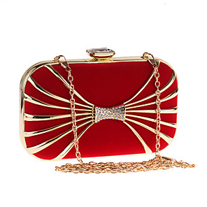 cheap Clutches & Evening Bags-Women's Crystals / Chain Polyester / Alloy Evening Bag Solid Color Black / Red