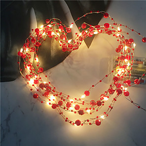 cheap LED String Lights-1PCS 2M 20led Wedding Fairy Lights Retro Red Pearl Decoration Led Garden String Lights For Holiday Christmas Home DIY Lighting AA Battery Power (come without battery)