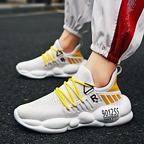 cheap Women's Sandals-Men's Mesh Spring & Summer / Fall & Winter Classic / British Athletic Shoes Walking Shoes Breathable Black / White / Yellow / White