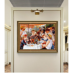 cheap Wallpaper-Framed Art Print Pierre-Auguste Renoir SetLunch On A Yacht Wall Art PS Oil Painting  On Canvas for Home Deco