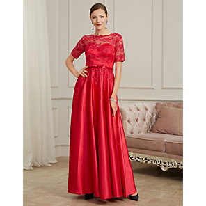 cheap LED String Lights-A-Line Elegant Wedding Guest Formal Evening Dress Jewel Neck Short Sleeve Floor Length Lace Tulle Polyester with Pleats Beading Appliques 2020
