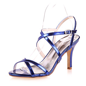 cheap Women's Shoes-Women's Wedding Shoes Stiletto Heel Open Toe Patent Leather Minimalism Spring & Summer Gold / Blue / Silver / Party & Evening