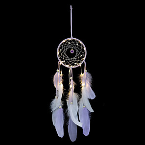 cheap Smart Lights-Wind Chimes Handmade Indian Dream Catcher Net With Feathers 55 cm Wall Hanging Dream catcher
