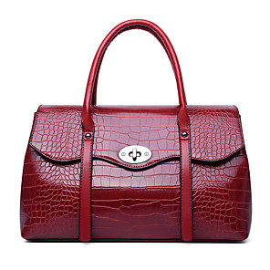 cheap Handbag & Totes-Women's Bags Patent Leather Top Handle Bag Embossed for Date / Outdoor Black / Blue / Red / Fall & Winter