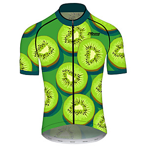 cheap Cycling Jerseys-21Grams Men's Short Sleeve Cycling Jersey Black / Green Fruit Tropical Flowers Bike Jersey Top Mountain Bike MTB Road Bike Cycling UV Resistant Breathable Quick Dry Sports Clothing Apparel / Stretchy