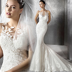 cheap Wedding Dresses-Mermaid / Trumpet Wedding Dresses Jewel Neck Court Train Lace Tulle Lace Over Satin Sleeveless Sexy Plus Size with Appliques 2020