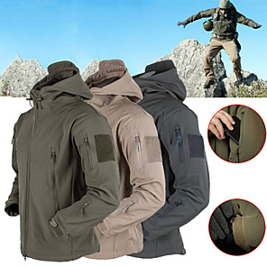 cheap Softshell, Fleece & Hiking Jackets-Men's Hiking Softshell Jacket Hiking Jacket Winter Outdoor Thermal Warm Waterproof Windproof Fleece Lining Hoodie Winter Jacket Top Fleece Softshell Camping / Hiking Hunting Fishing Dark Grey / Black