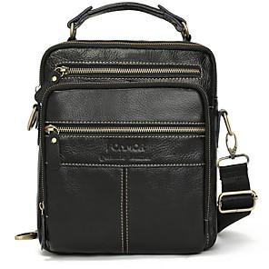 cheap Women's Sandals-Men's Zipper PU Top Handle Bag Solid Color Black