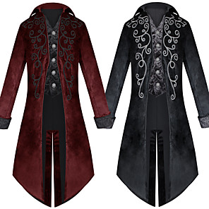 cheap Historical & Vintage Costumes-Plague Doctor Victorian Steampunk Winter Coat Frock Coat Men's Costume Black / Red Vintage Cosplay Party Halloween Long Sleeve