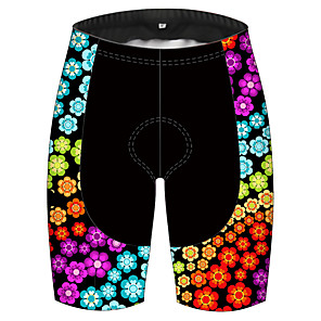cheap Cycling Jersey & Shorts / Pants Sets-21Grams Women's Cycling Shorts Spandex Polyester Bike Shorts Padded Shorts / Chamois Pants Breathable 3D Pad Quick Dry Sports Floral Botanical Black / Red Mountain Bike MTB Road Bike Cycling Clothing