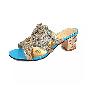 cheap Women's Sandals-Women's Sandals Chunky Heel Open Toe Daily PU Summer Black / Blue / Royal Blue