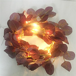 cheap LED String Lights-2M 20Led Artificial Eucalyptus Leaf Fairy String Garland Plant Vine Fake Foliage Flower Home Decor Lighting Artificial Lamp  come without battery)