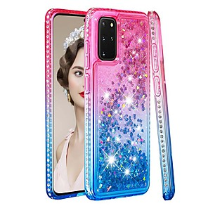 cheap Samsung Case-Case For Samsung Galaxy Samsung Galaxy A50s / Samsung Galaxy A30s / Samsung Galaxy A10s Rhinestone / Flowing Liquid / Transparent Back Cover Color Gradient / Glitter Shine TPU