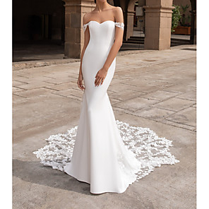 cheap Party Sashes-Mermaid / Trumpet Wedding Dresses Off Shoulder Court Train Polyester Short Sleeve Simple Plus Size with Lace Insert Appliques 2020