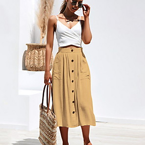 cheap Women's Heels-Women's Daily Wear Basic Midi Skirts Solid Colored