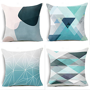 cheap Throw Pillow Covers-Set of 4 Polyester Pillow Cover, Geometic Simple Classic Square Traditional Classic Throw Pillow