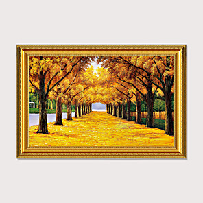 cheap Framed Arts-Framed Art Print Landscape oil painting European Porch Decorative Drawing Room Gold Avenue Get Rich Feng Shui Tree Ready To Hang