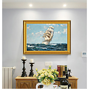 cheap Framed Arts-Framed Art Print European Type Oil Painting Sitting Room Sofa Background Seascape Sailing Boat Plain Sailing Scenery Decorative Ready To Hang Painting