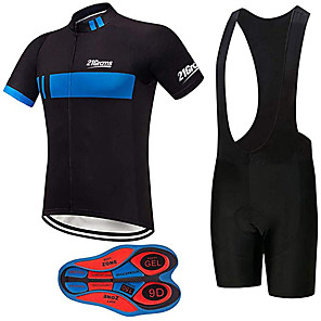 cheap Cycling Jersey & Shorts / Pants Sets-21Grams Men's Short Sleeve Cycling Jersey with Bib Shorts Black / Blue Stripes Bike Clothing Suit UV Resistant Breathable 3D Pad Quick Dry Sweat-wicking Sports Solid Color Mountain Bike MTB Road Bike