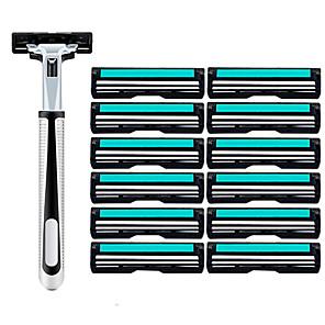 cheap Bath Body Care-13pcs Razor Set Men Face Shaving Double Layers 12 Razors Blades Male Manual Standard Beard Shaver Trimmer