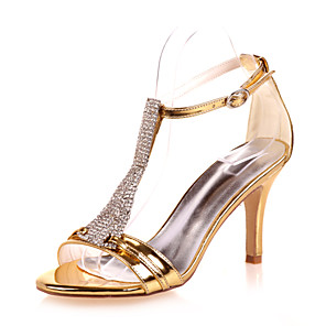 cheap Wedding Shoes-Women's Wedding Shoes Stiletto Heel Open Toe Rhinestone Patent Leather Sweet Spring & Summer Gold / Blue / Silver / Party & Evening